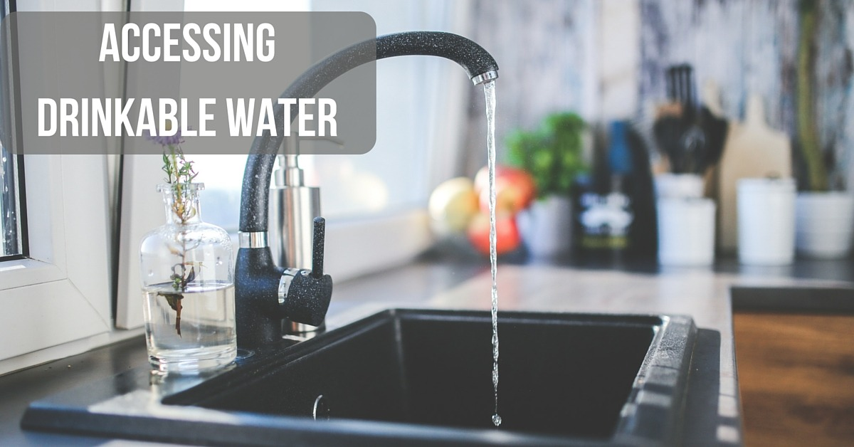 Image of clean water flowing from a tap - Text Accessing Drinkable Water