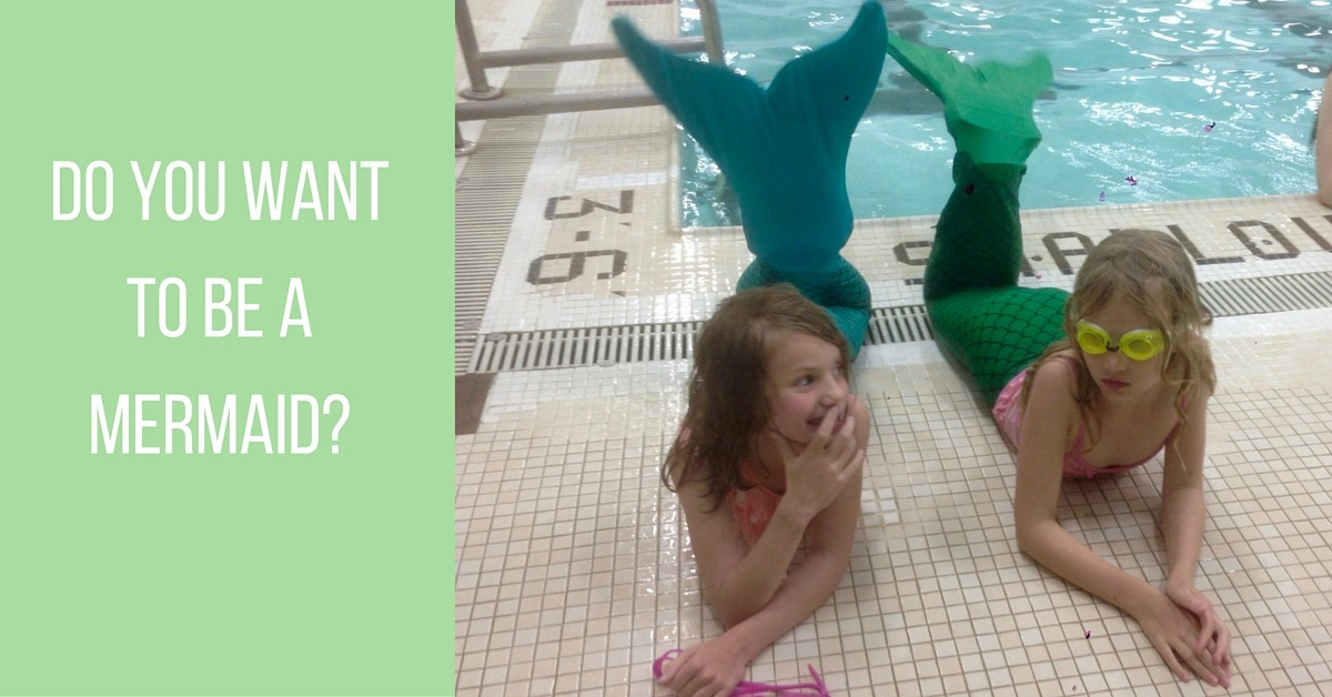Image of two girls wearing mermaid tails to swim like a mermaid