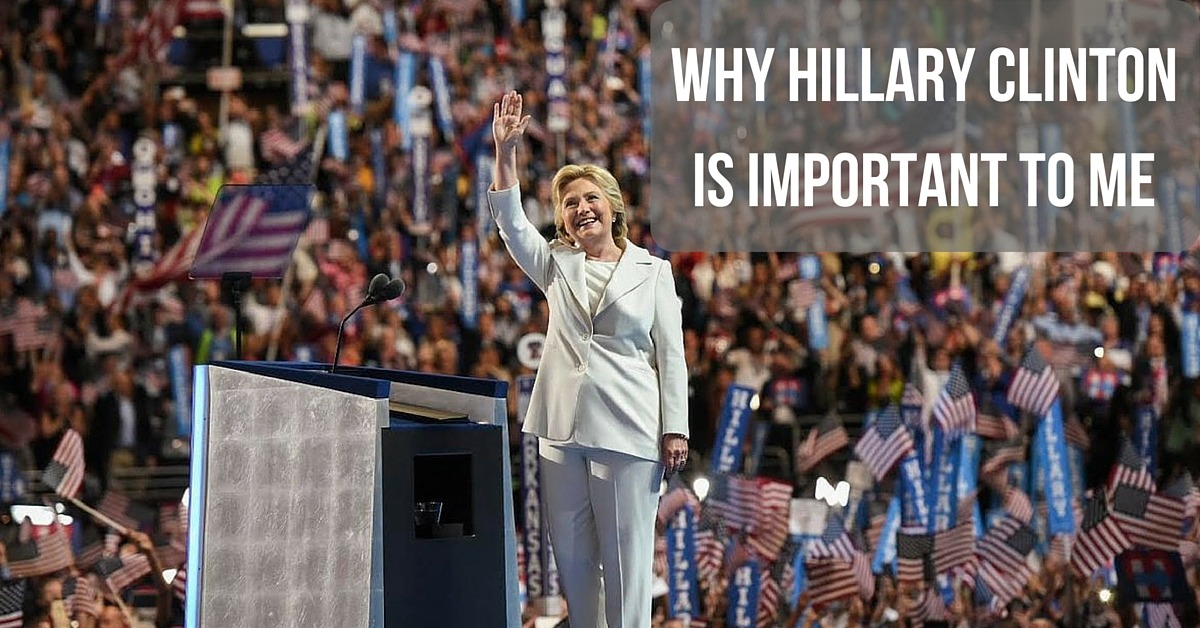 Image of Hillary Clinton on stage at the Democratic National Convention