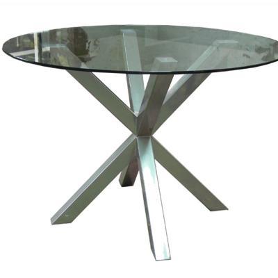 Mesa IXI con estructura gris cromo con cristal de 110cm