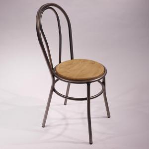 Silla cabaret hierro con asiento de pino envejecido