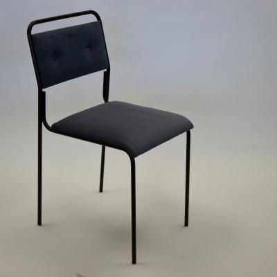 Silla Prado estructura pintado negro con asiento y respaldo tapizado mas botones