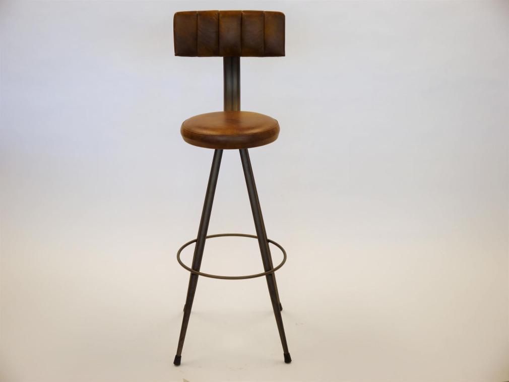 Taburete Conico H-78 estructura hierro barnizado con asiento y respaldo tapizado sintético vintage