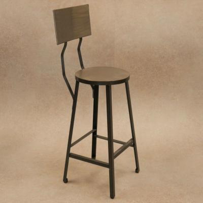 Taburete Industrial hierro asiento plancha y respaldo