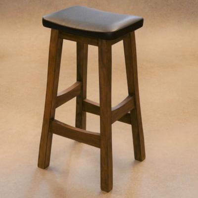Taburete Nimbus H-78 madera pino acabado nogal asiento tapizado sintético negro