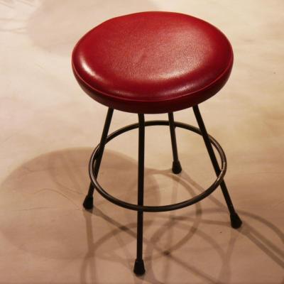 Taburete Dalton H-45cm asiento piel roja envejecida