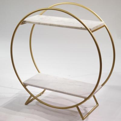 Estanteria Miramar H83 estructura de hierro en dorado con estantes de marmol blanco