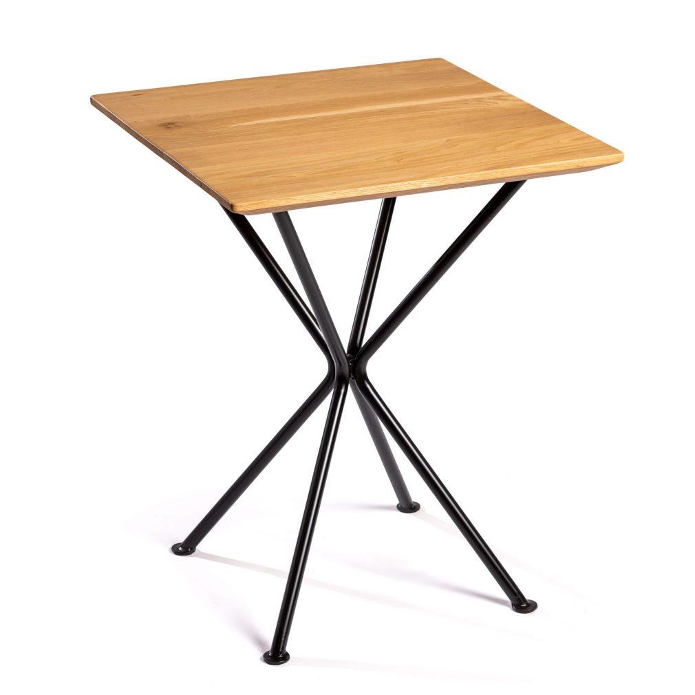 Mesa Tripode 4 pies con sobre de roble macizo de 60x60 con canto de mesa biselado