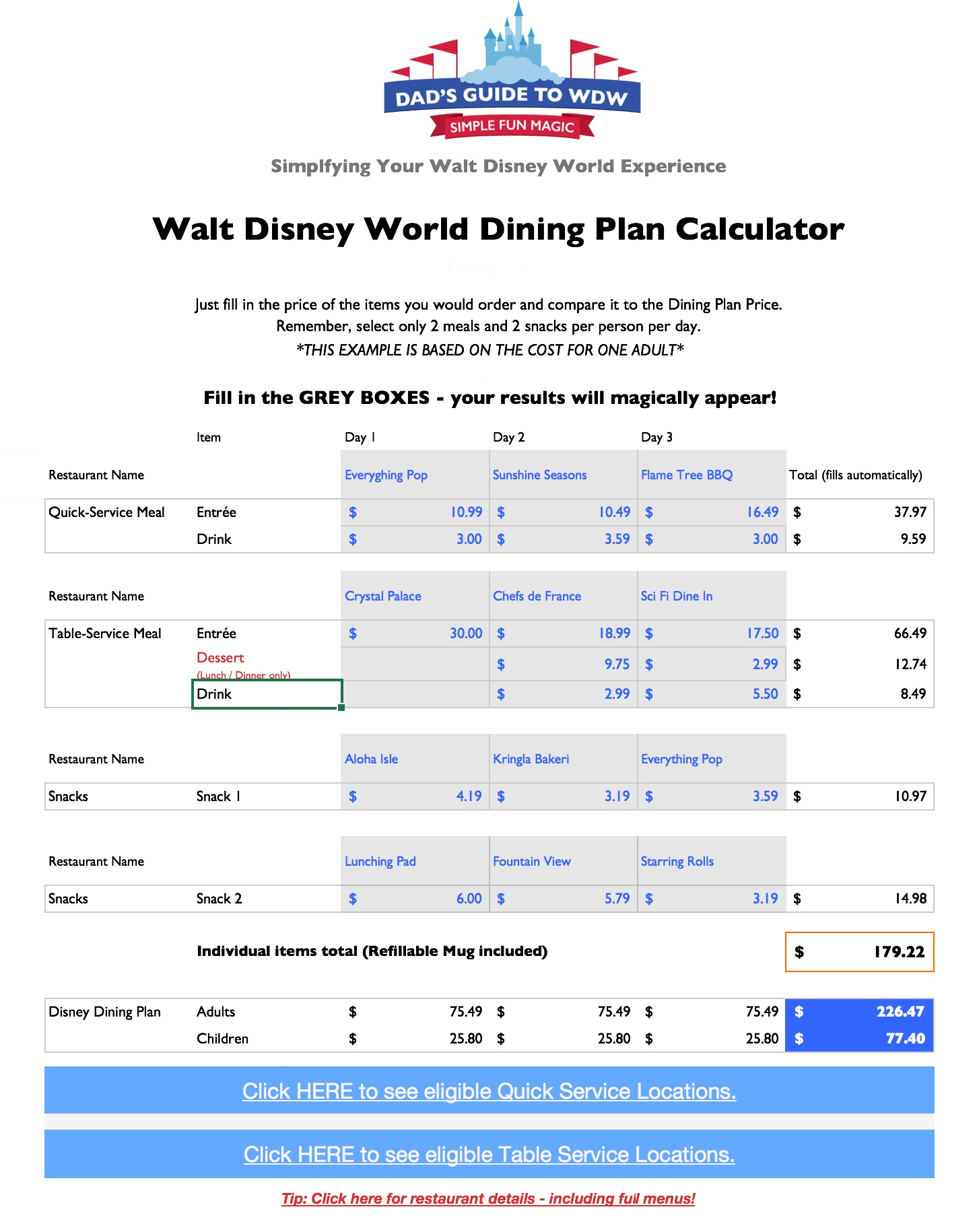 Disney Dining Plan Calculators