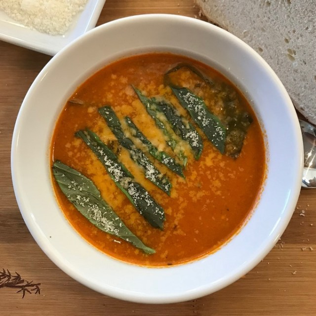 Roasted tomato and basil soup.