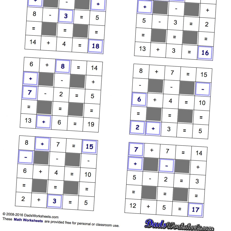 Plus And Minus Worksheet Easy