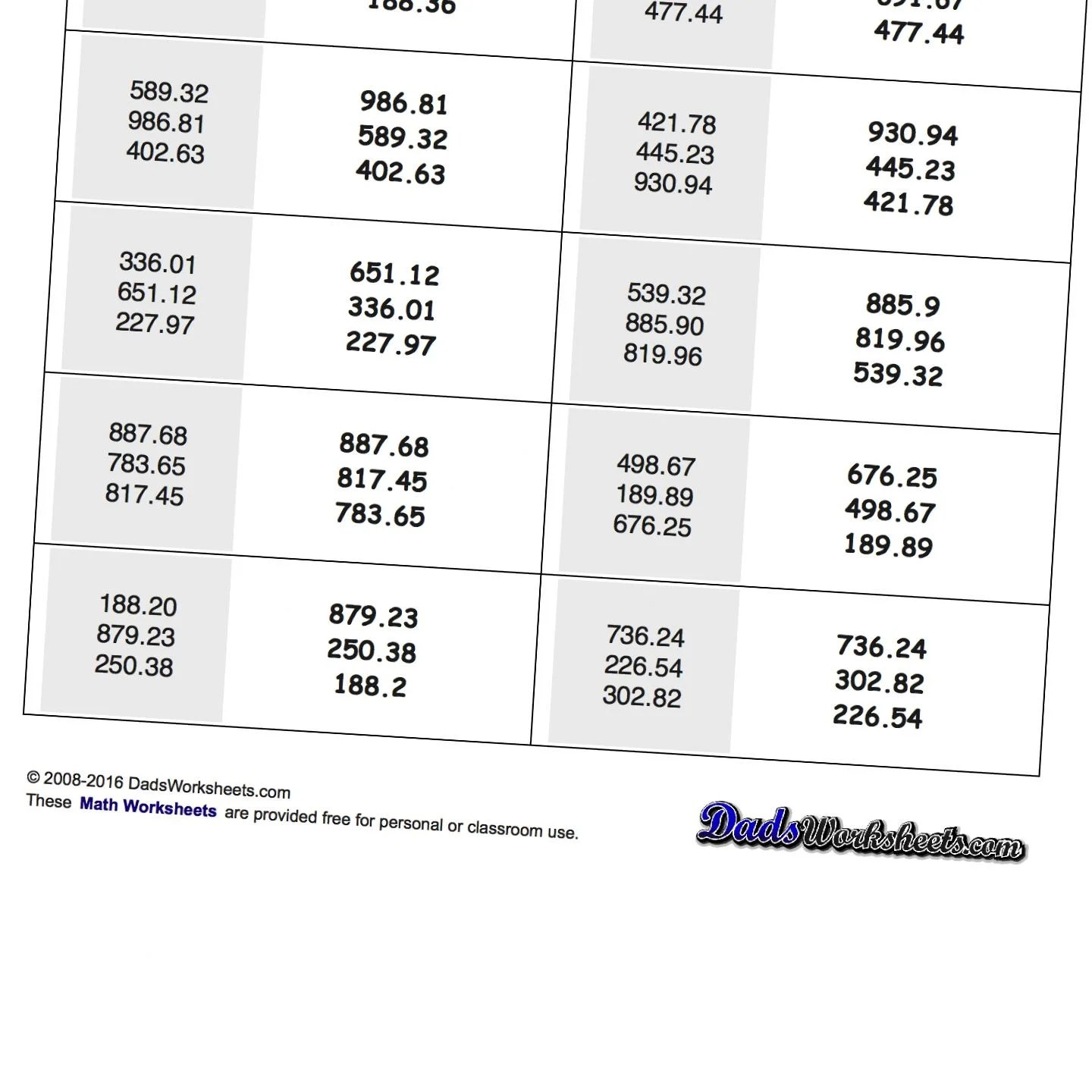 Decimals Least To Greatest Worksheet