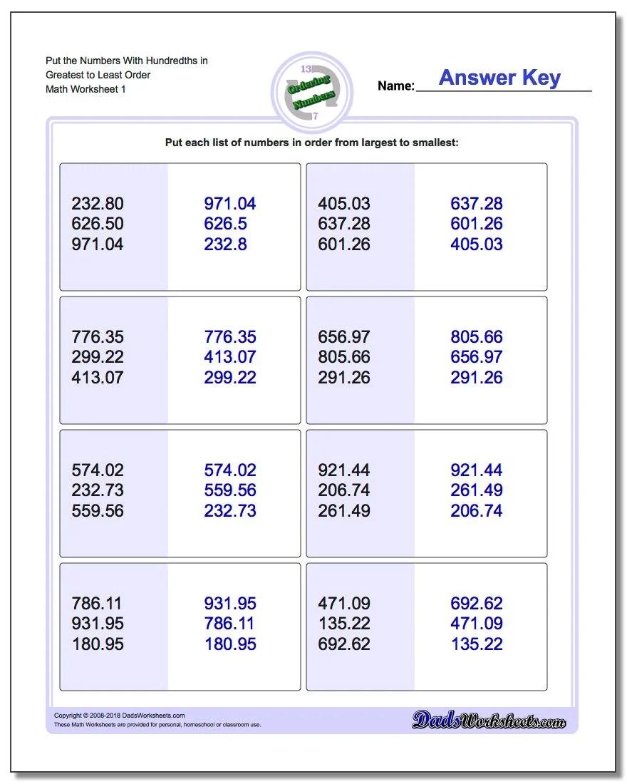 Order Greatest Decimal Worksheet Least