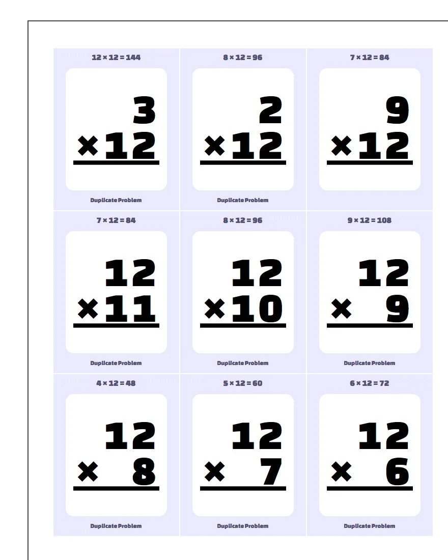 Multiplication By 10 11 12 Flash Cards
