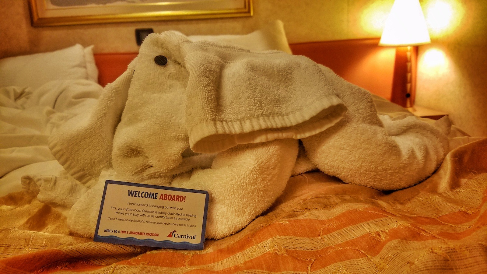 Carnival Liberty Review - Towel Elephant in Our Cabin