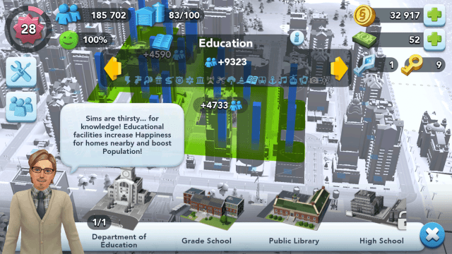 SimCity BuildIt Education Facilities