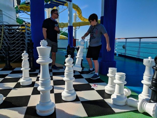 Oversize chess game on the Carnival Sunshine Ship