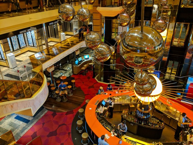 Looking down on the main deck bar on the Carnival Sunshine Ship