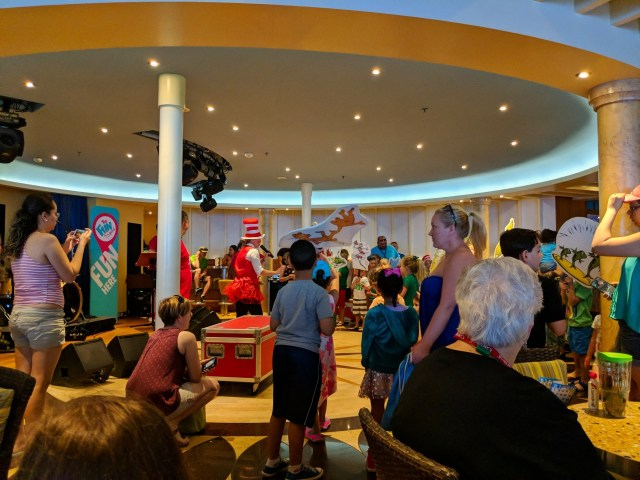 Children and parents getting ready for the Dr Seuss parade on board the Carnival Sunshine Ship