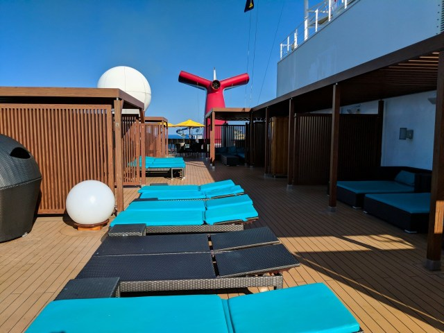 Empty Serenity Deck on board the Carnival Sunshine Ship