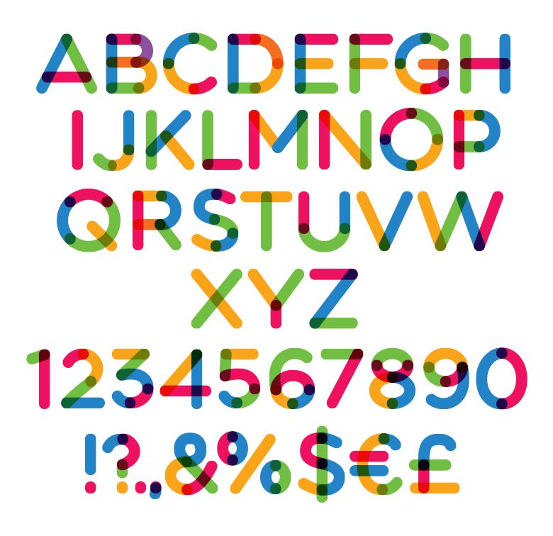 Multicolore Schriftart