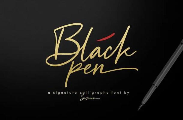 Black Pen Signature Font Free