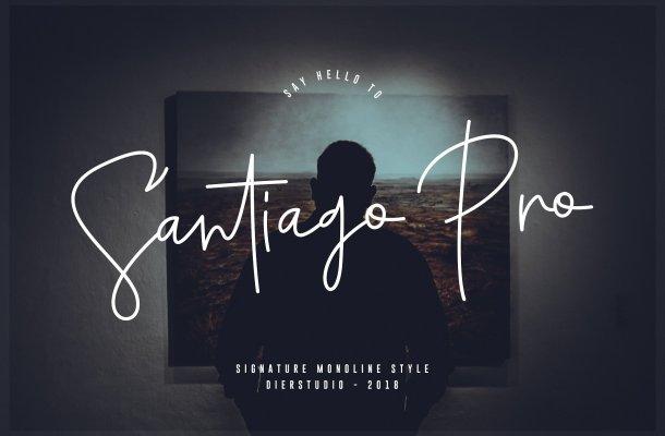 Santiago Pro Signature Font Free