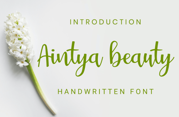 Aintya Beauty handwritten Font