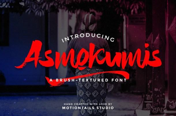 Asmokumis Textured Brush Script Font