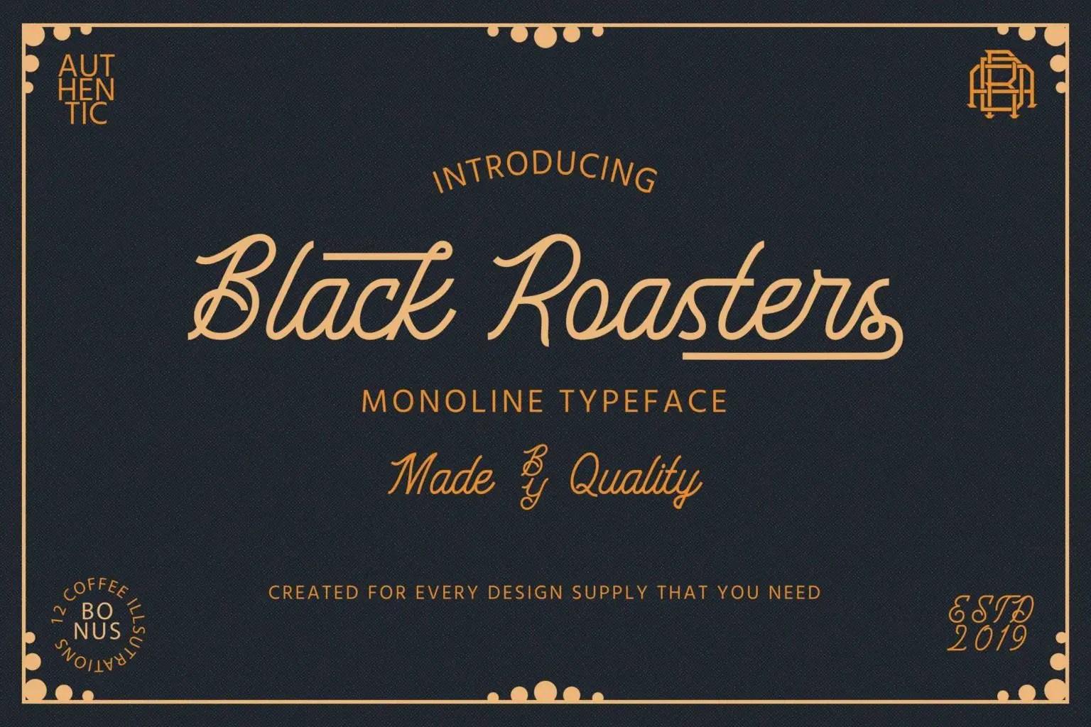 Black Roasters Monoline Typeface-1