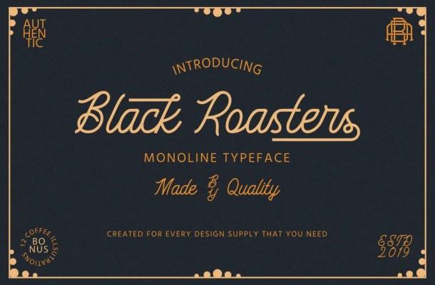 Black Roasters Monoline Typeface