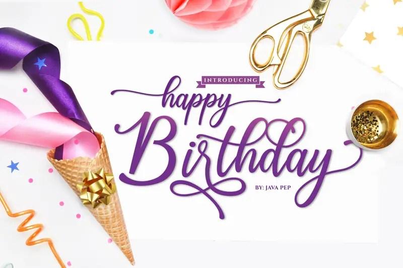 Happy Birthday Calligraphy Script Font-1
