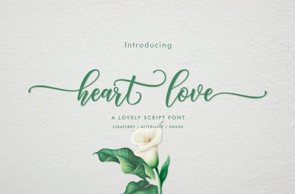 Heart Love Calligraphy Script Font