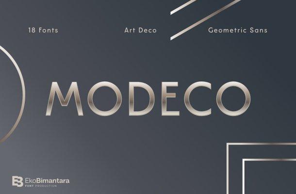 Modeco Art Deco Geometric Sans Font Family