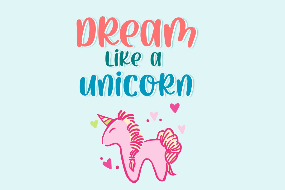 Pink Horn Unicorn Fancy Font-2