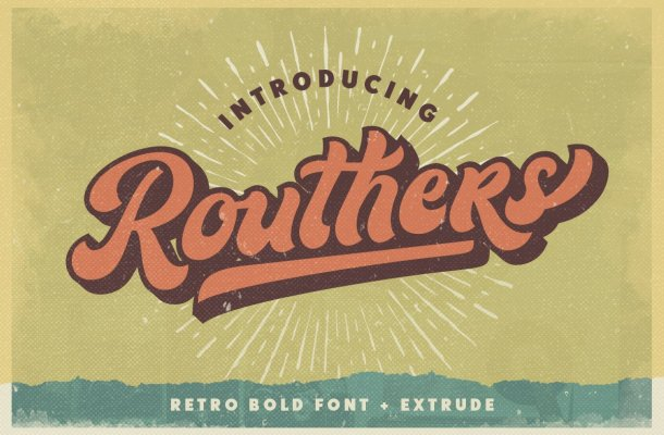 Routhers Retro Bold Script Font