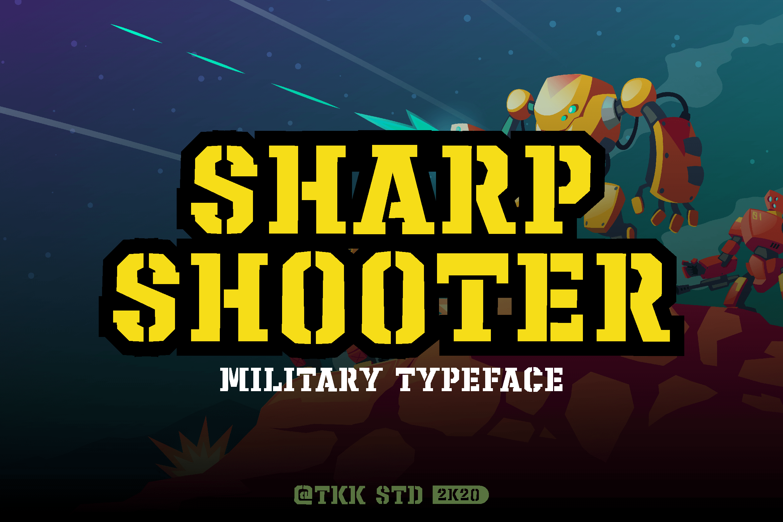 Sharpshooter Military Stencil Display Font-1