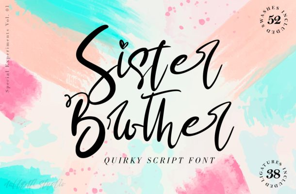 Sister Brother Calligraphy Script Font