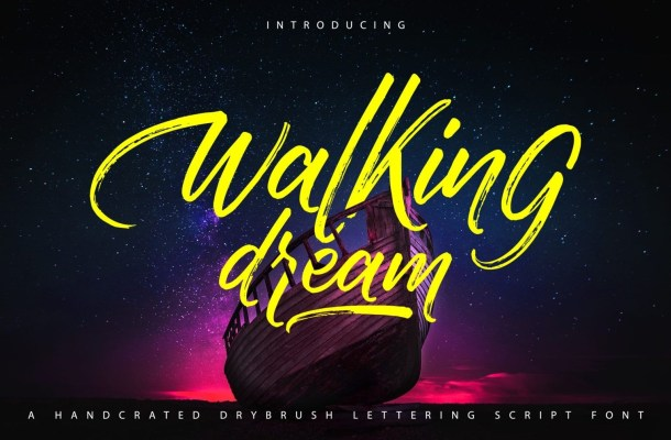 Walking Dream A Handcrafted Drybrush Lettering Font