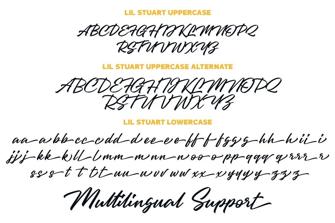Lil Stuart Ligature Script Sans Serif Duo Font-3