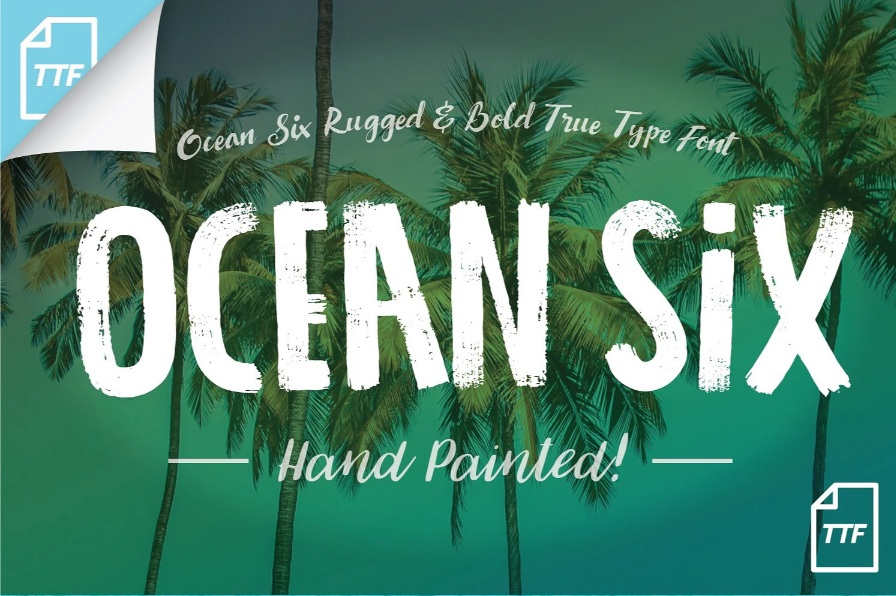 Ocean Six Brush Font-1
