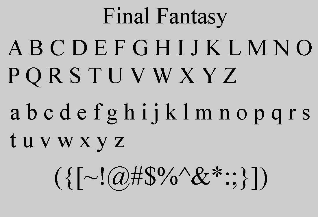 Final Fantasy Serif Font