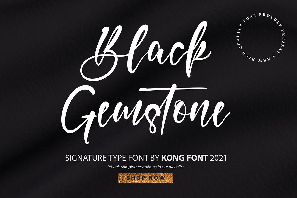 Black Gemstone Handwritten Font -1