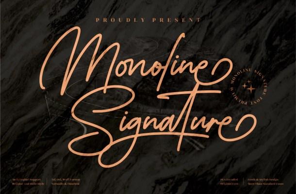 Monoline Signature Font