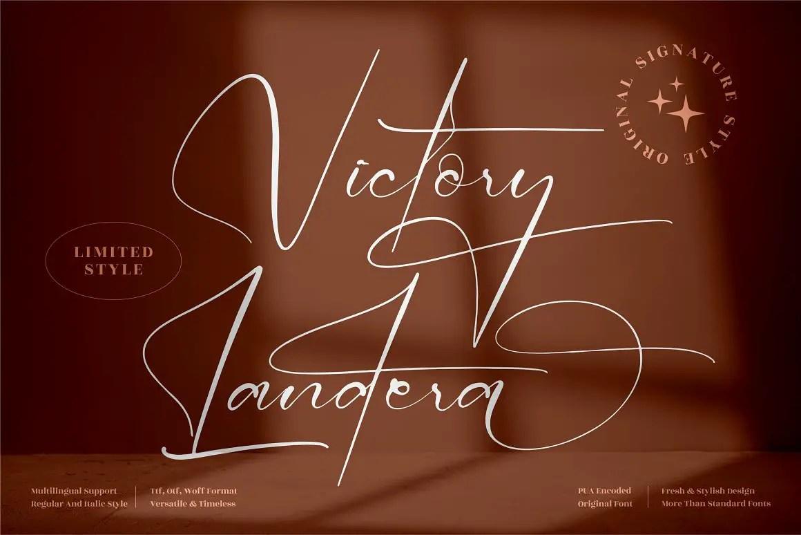 Victory Landera Signature Font -1