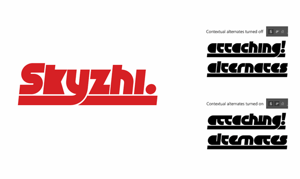 Skyzhi font