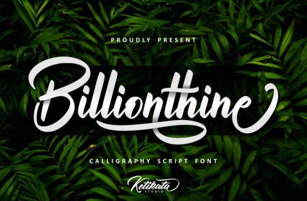 Billionthine Calligraphy Font