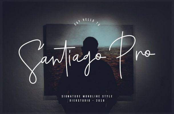 Santiago Pro Signature Font