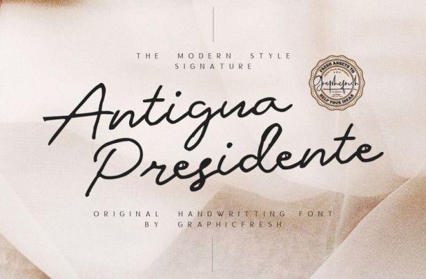 Antigua Presidente Script Font