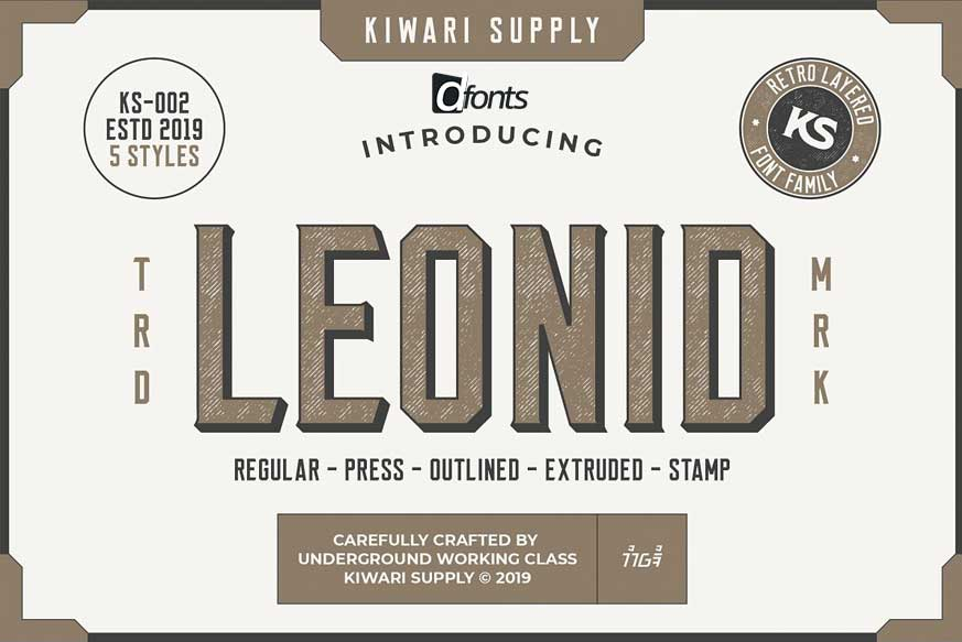 Download Leonid Retro Layered Font Pack - Dafont Free
